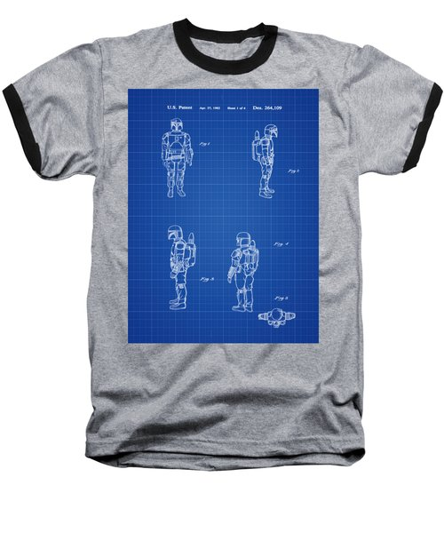 Baseball T-Shirt featuring the photograph Boba Fett Toy Patent 1982 In Blue Print by Bill Cannon