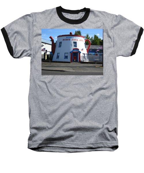 Bob's Java Jive Coffee Pot Baseball T-Shirt by Kym Backland