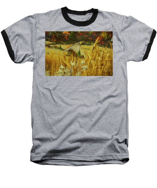 Baseball T-Shirt featuring the digital art Bobwhite In Flight by Chris Flees