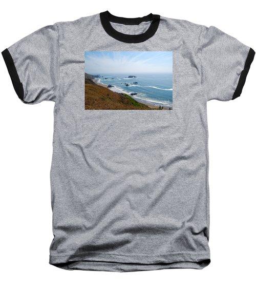 Bodega Bay Arched Rock Baseball T-Shirt by Debra Thompson