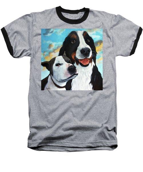 Bodhi And Lily  Pet Portrait Baseball T-Shirt