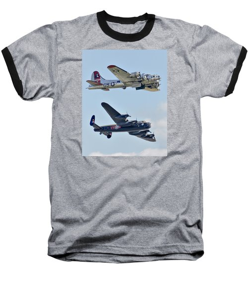 Boeing B-17g Flying Fortress And Avro Lancaster Baseball T-Shirt by Alan Toepfer