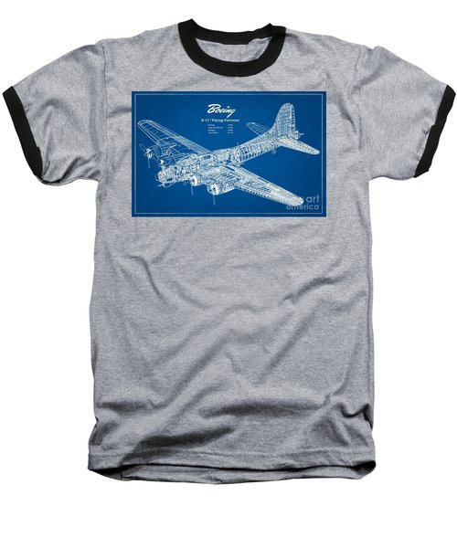 Baseball T-Shirt featuring the drawing Boeing Flying Fortress by Pg Reproductions