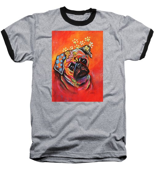 Baseball T-Shirt featuring the mixed media Pug by Patricia Lintner