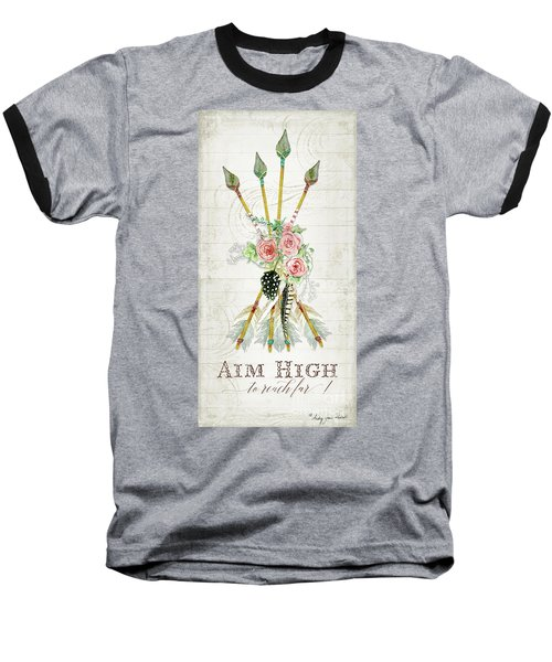 Baseball T-Shirt featuring the painting Boho Western Arrows N Feathers W Wood Macrame Feathers And Roses Aim High by Audrey Jeanne Roberts