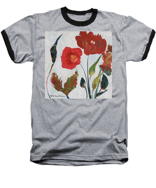 Baseball T-Shirt featuring the painting Bold Blooms by Robin Maria Pedrero