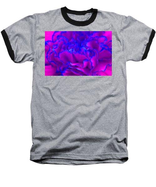 Bold Fuschia Pink And Blue Carnation Flower Baseball T-Shirt