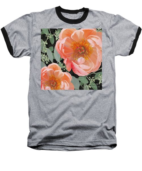 Baseball T-Shirt featuring the painting Bold Peony Seeded Eucalyptus Leaves by Audrey Jeanne Roberts