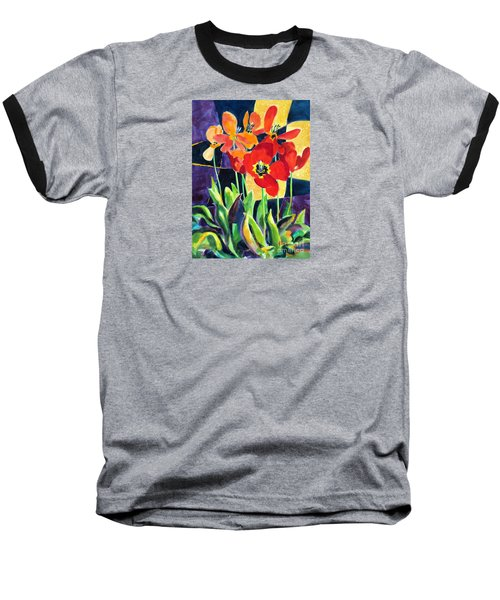 Bold Quilted Tulips Baseball T-Shirt