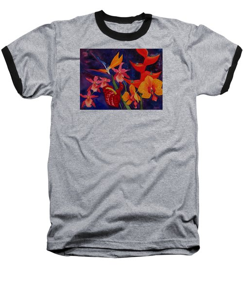 Baseball T-Shirt featuring the painting Bold Tropical Flowers by Kerri Ligatich