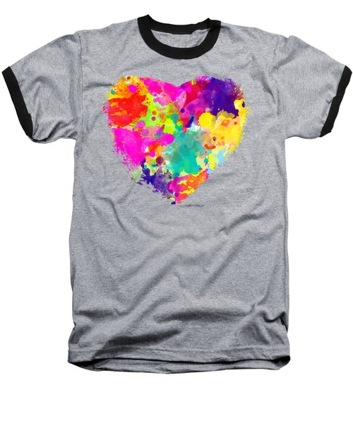 Bold Watercolor Heart - Tee Shirt Design Baseball T-Shirt