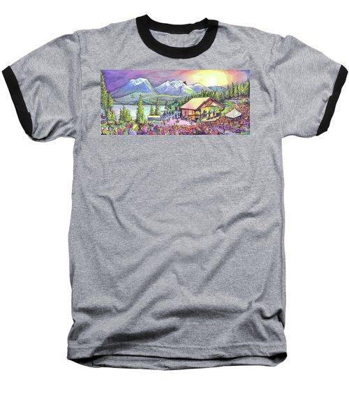 Baseball T-Shirt featuring the painting Bonfire Dub by David Sockrider