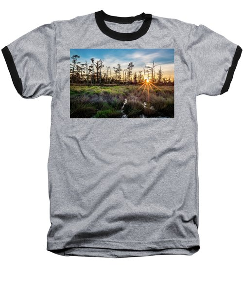 Bonnet Carre Sunset Baseball T-Shirt by Andy Crawford