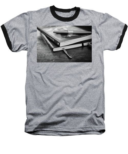 Baseball T-Shirt featuring the photograph Books, Journal And Pen by Monte Stevens