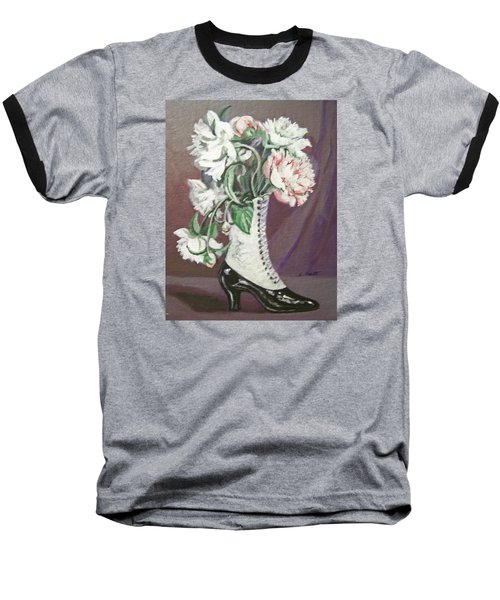 Booted Peonies Baseball T-Shirt by Laura Aceto