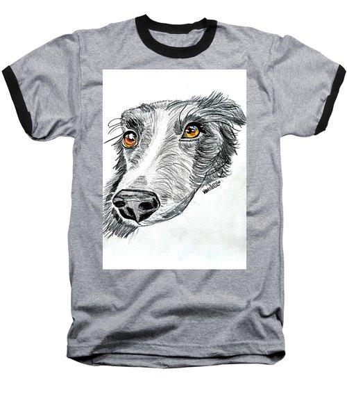 Border Collie Dog Colored Pencil Baseball T-Shirt by Scott D Van Osdol