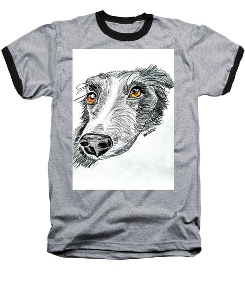 Border Collie Dog Colored Pencil Baseball T-Shirt