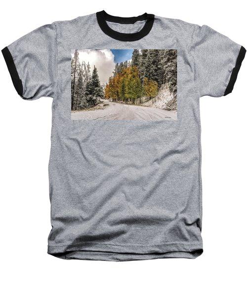 Boreas Pass Road Aspen And Snow Baseball T-Shirt