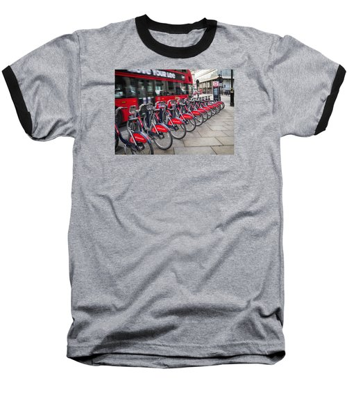 Baseball T-Shirt featuring the photograph Boris Bikes And Buses by Shirley Mitchell