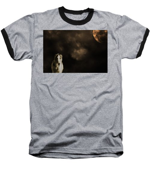 Borzoi Wolf Hound And Full Moon Baseball T-Shirt