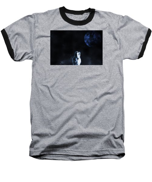 Baseball T-Shirt featuring the photograph Borzoi Wolf-hound, Hunting Under A Full Moon by Christian Lagereek