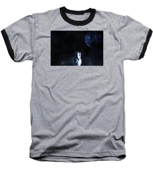 Borzoi Wolf-hound, Hunting Under A Full Moon Baseball T-Shirt