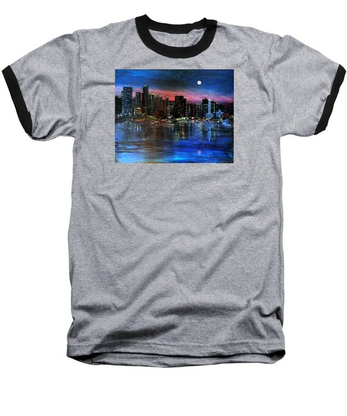 Boston At Night Baseball T-Shirt