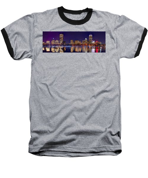 Baseball T-Shirt featuring the photograph Boston Back Bay Skyline At Night 2017 Color Panorama 1 To 3 Ratio by Jon Holiday