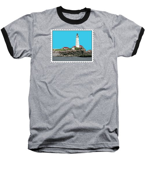 Boston Harbor Lighthouse Baseball T-Shirt by Elaine Plesser