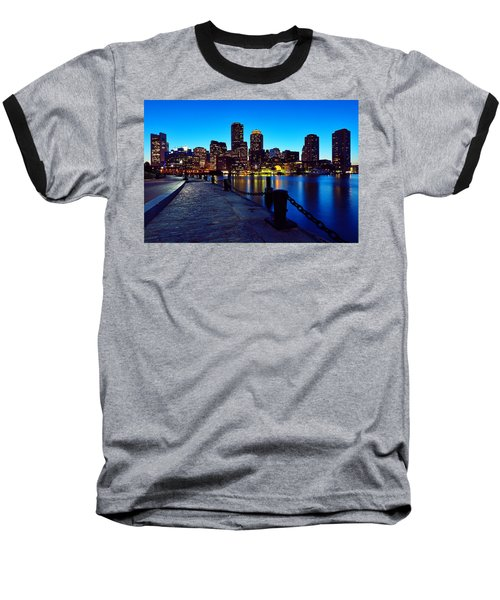 Boston Harbor Walk Baseball T-Shirt by Rick Berk