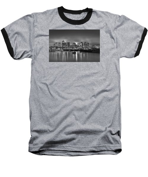Boston In Black And White Baseball T-Shirt by Brendan Reals
