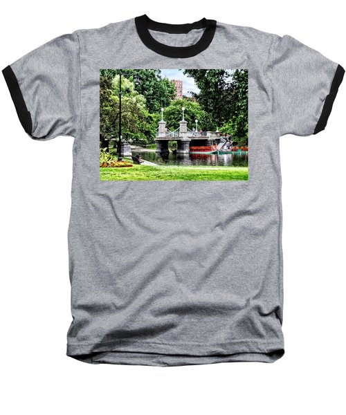 Boston Ma - Boston Public Garden Bridge Baseball T-Shirt by Susan Savad