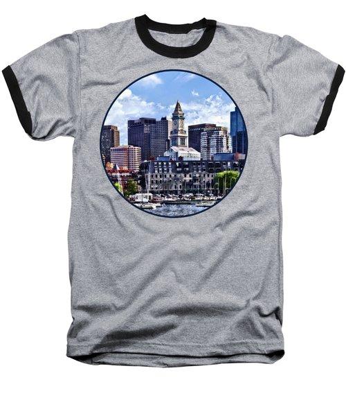 Boston Ma - Skyline With Custom House Tower Baseball T-Shirt