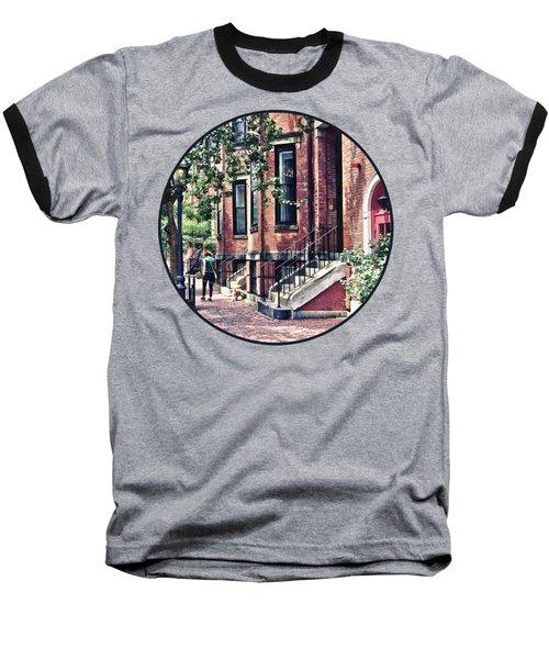Boston Ma - Walking The Dog On Mount Vernon Street Baseball T-Shirt