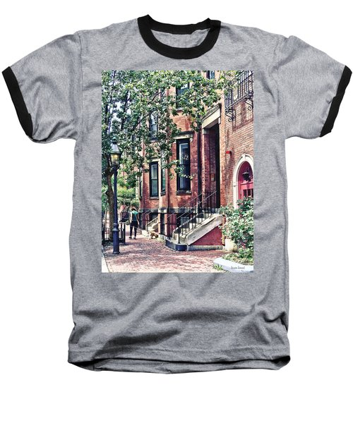 Boston Ma - Walking The Dog On Mount Vernon Street Baseball T-Shirt