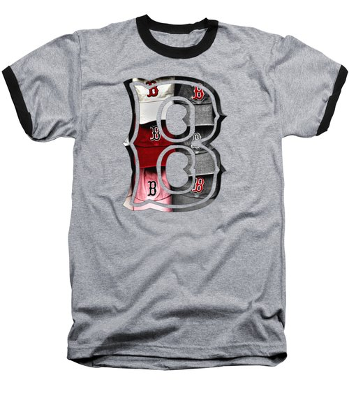 Baseball T-Shirt featuring the digital art Boston Red Sox B Logo by Joann Vitali