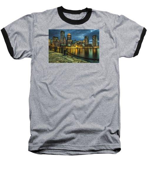 Boston Skyline At Night - Cty828916 Baseball T-Shirt