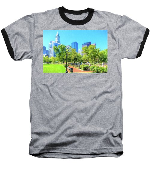 Boston Skyline From Columbus Park Baseball T-Shirt