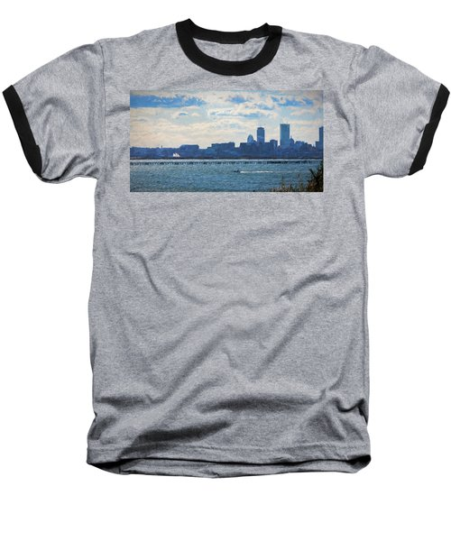 Boston Skyline From Deer Island Baseball T-Shirt