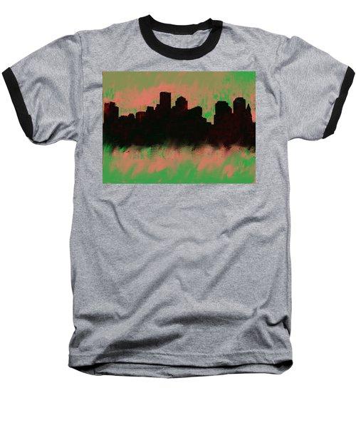 Boston Skyline Green  Baseball T-Shirt by Enki Art
