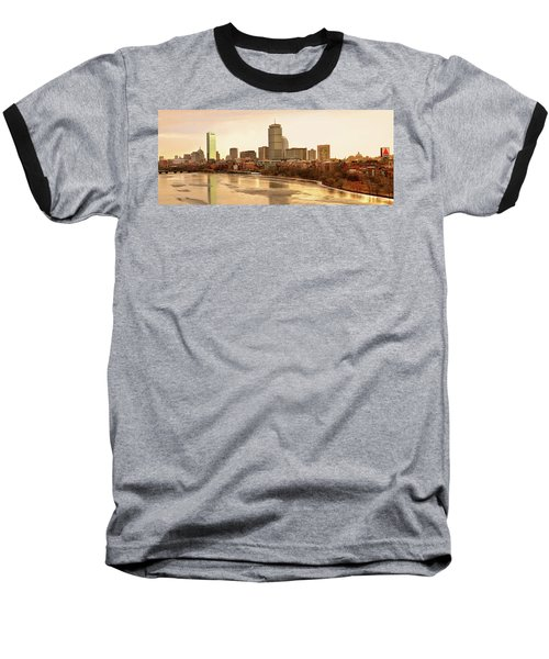 Boston Skyline On A December Morning Baseball T-Shirt