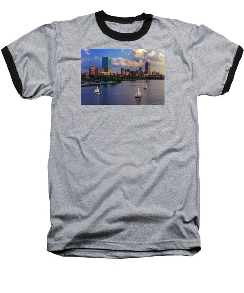 Boston Skyline Baseball T-Shirt by Rick Berk