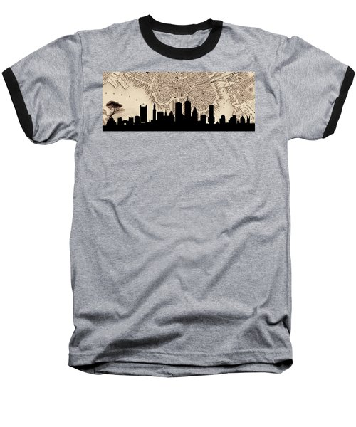 Boston Skyline Vintage Baseball T-Shirt by Andrew Fare
