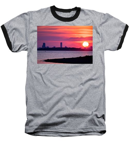 Boston Skyline Worlds End Baseball T-Shirt