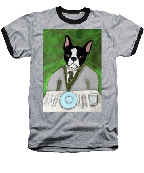 Boston Terrier At A Formal Dinner Baseball T-Shirt