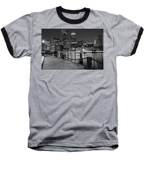 Boston Waterfront Boston Skyline Black And White Baseball T-Shirt