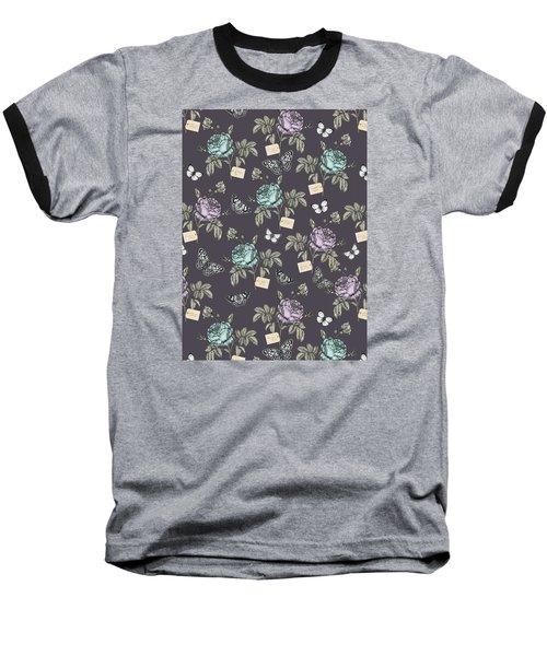 Botanical Roses Baseball T-Shirt by Stephanie Davies