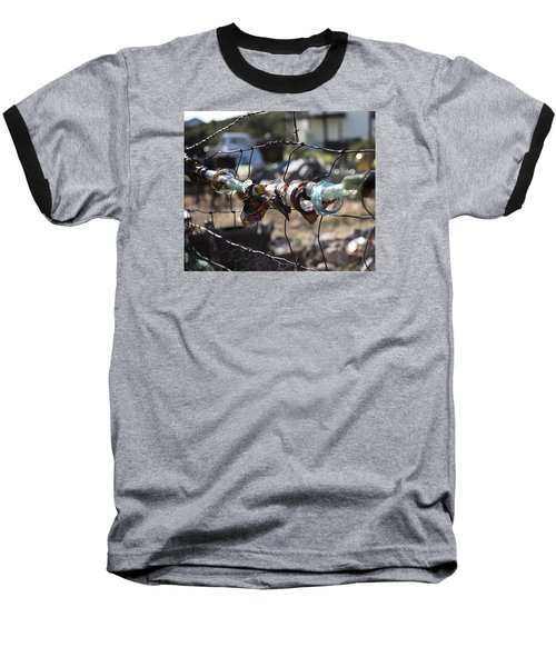 Baseball T-Shirt featuring the photograph Bottle Fence by Annette Berglund