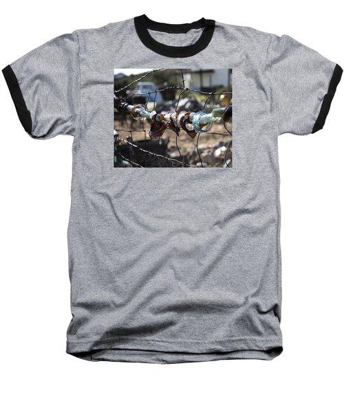 Bottle Fence Baseball T-Shirt by Annette Berglund