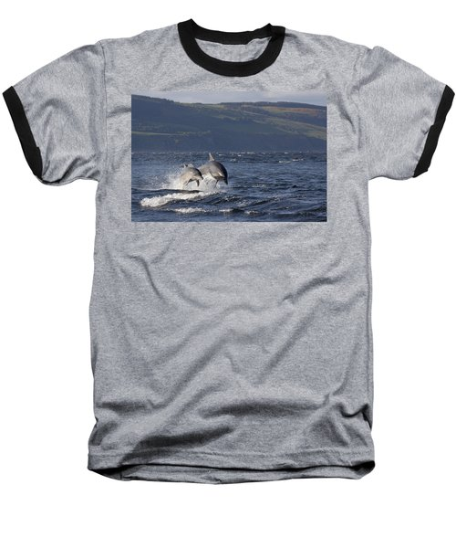 Bottlenose Dolphins Leaping - Scotland  #37 Baseball T-Shirt